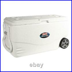 100 Quart Cooler With Wheels On Ice Big Rolling Family Sized Antimicrobial