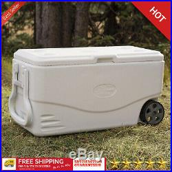 100 Quart Cooler With Wheels On Large Ice Big Rolling Family Sized Antimicrobial