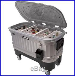 125 Quart Party Bar Rolling Cooler Outdoor Patio Chest Deck Pool Ice Beverage