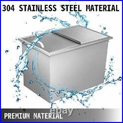 155 qt Outdoor/Indoor Drop-in Ice Chest Cooler Buckets 304 Bin Box WithPipe
