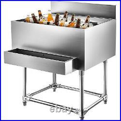 18x36 Underbar Stainless Steel Restaurant Bar Ice Bin 220 lb Ice Chest Cooler