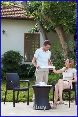 2-in 1 Adjustable Outdoor Patio Pool Deck Beverage Rattan Ice Cooler Table Bar