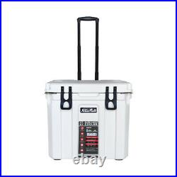 37 Quart Ice Chest Cooler Lockable Bottle Opener Insulated with Telescoping Handle