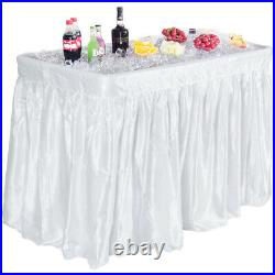 4 Foot Party Ice Cooler Folding Table Plastic with Matching Skirt White New