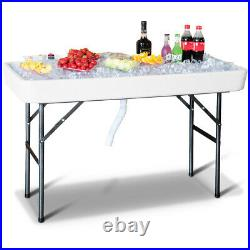 4' Ice Table Folding Party Ice Cooler Table Desk with Skirt & Drain Pipe