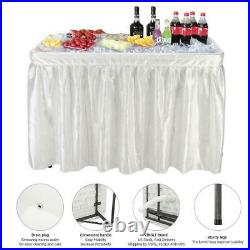 4 ft Folding Party Ice Chests Cooler Table Outdoor Cooking Matching Skirt