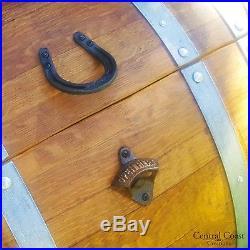 60 Gallon WINE BARREL Ice Chest Furniture Home Decor HoseShoe Handles Rustic
