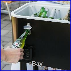 65 Qt Black Ice Bin Chest Cooler Mobile Patio Rolling Party Cart Beer Beverage