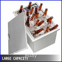 66Qt Outdoor Kitchen Ice Chest 304 Stainless Steel Cooler Beer Beverage Drop In