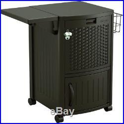 77-Quart Plastic Beverage Cooler Outdoor Patio Fridge Lower Cabinet Storage