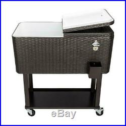 80QT Outdoor Rattan Party Rolling Cooler Cart with Tray Ice Beer Beverage Chest