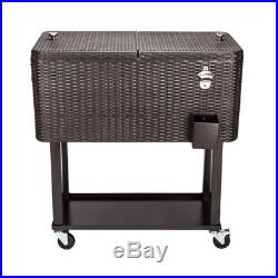 80QT Outdoor Rattan Square Leg otter box cooler with wheel features stable