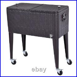 80QT Outdoor Rolling Cooler Cart Rattan Party Portable Ice Beer Beverage Chest