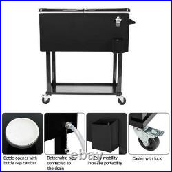 80QT Rolling Warm Cooler Food Cart Ice Chest Patio Outdoor Drink Party BBQ Black