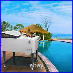 80QT Rolling Warm Cooler Food Cart Ice Chest Patio Stainless Steel US SHIP