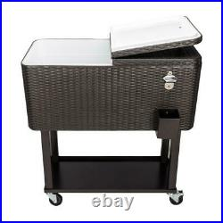 80QT Wicker Outdoor Rattan Party Rolling Cooler Frozen Cart Ice With Wheel
