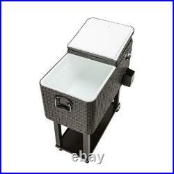 80QT Wicker Outdoor Rattan Picnic Party Rolling Cooler Frozen Cart Ice Bee Pinic