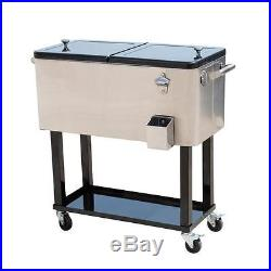 80 QT Patio Stainless Steel Outdoor Party Cooler Cart Ice Chest Portable New