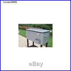 80 QT Portable Rolling Patio Stainless Steel Outdoor Party Cooler Cart Ice Chest