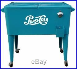 80 Qt. Outdoor Patio Rolling Ice Chest Locking Bottle Opener Cart Steel Cooler