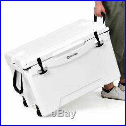 80 Quart Cooler 2 Wheels Ice Chest Heavy Duty Fishing Hunting Keep Warm White