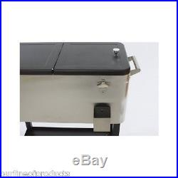 80 Quart Igloo Ice Cooler Camping Chest Steel Stainless Patio Deck Home Party
