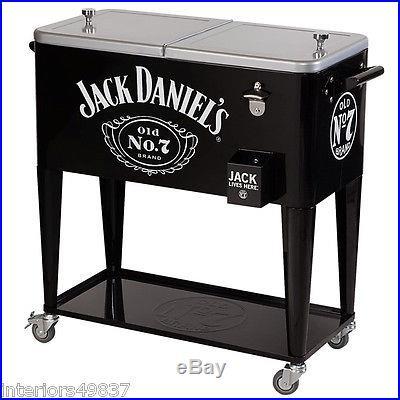 80 Quart JACK DANIELS ROLLING Casters COOLER Outdoor Ice Chest Patio Deck Party