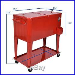 80 Quart Outdoor Rolling Cooler Cart Ice Chest Portable Patio Party Bar Drink