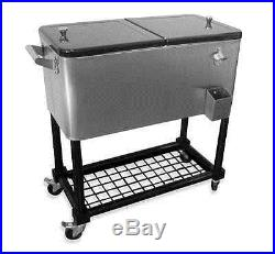 80 Quart Qt Stainless Steel Portable Rolling Ice Chest Party Cooler Tray Cart