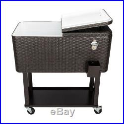 80 Quart Rattan Rolling Cooler Cart with Wheels Drink Beverage Bar Ice Chest