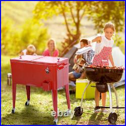 80 Quart Red Outdoor Patio Cooler Cart Ice Beer Beverage Portable Chest Party