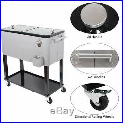 80 Quart Rolling Cooler Cart with Wheels, Portable Drink Beverage Bar for Party