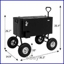 80-Quart Rolling Ice Chest Portable Cooler Black Wagon 10 All-Terrain Wheels