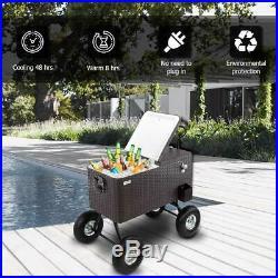 80-Quart Rolling Ice Chest Portable Cooler Rattan Wagon 10 All-Terrain Wheels