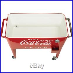 80-Quart Rolling Retro Coca-Cola Cooler