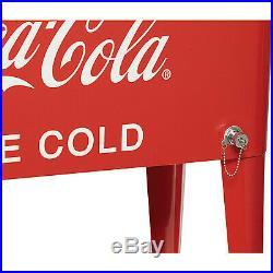 80-Quart Rolling Retro Coca-Cola Food Beverage Cooler Ice Chest Bottle Opener