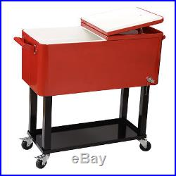 80 Quart Solid Steel Patio Deck Cooler Rolling Outdoor Construction Home Party