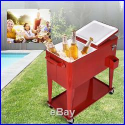 80 Quart Steel Rolling Cooler Portable Cart Ice Beer Beverag Party Outdoor Patio