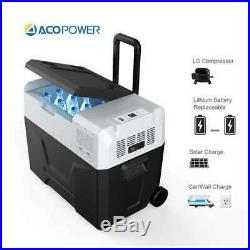 ACOPower 42 Quart 64 Can Portable Solar Powered Fridge Or Freezer Cooler, Black