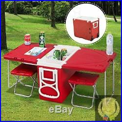 AMAZING Rolling Cooler Bag With Table Chair On Wheels for Camping Beach Folding