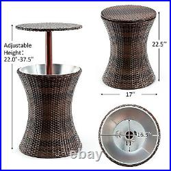 Adjustable Outdoor Patio Rattan Ice Cooler Cool Bar Table Party Deck Pool New