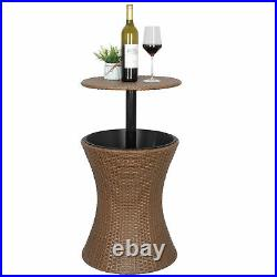 Adjustable Rattan Ice Cooler Drink Cooler Party Cool Bar Table Pool Wine Garden