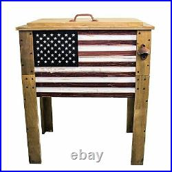 Americana USA Flag 57 Quart Party Cooler Wooden Outdoor Drink Ice Chest Rustic