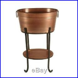 Antique Copper Beverage Tub with Tray on Stand
