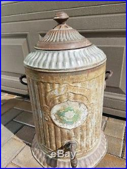 Antique Victorian Decorative Metal Water Cooler Shabby Chic Decor Collectible
