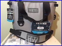 Authentic Yeti Hopper 20 Fog Gray / Tahoe Blue Cooler 100% Leak Proof Tough New