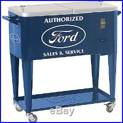 Authorized Ford Sales and Service 80-Qt. Rolling Party Ice Cooler