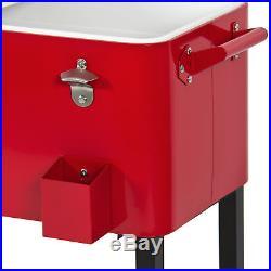 BCP 80-Quart Rolling Cooler Cart Red