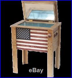 Backyard Expressions 57 Quart Wooden Flag Cooler
