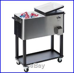 Beverage Beer Cooler Refrigerator Ice Cold Steel Outdoor BBQ Party Shelf Storage